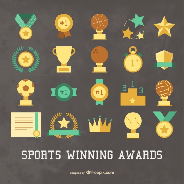 Sport winning awards icons set  Vector | Free Download