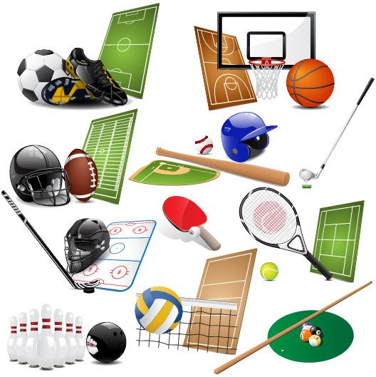sports equipment vector set 05