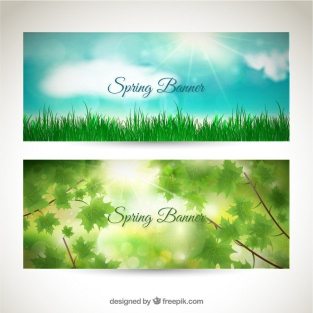 Spring banners set