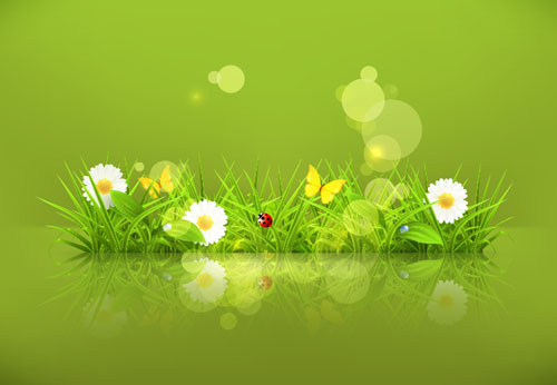 Spring green grass Background vector 04