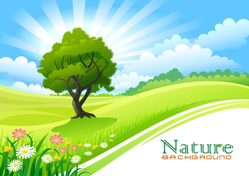 Spring nature landscapes vectors material 01