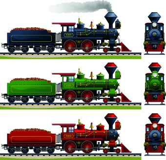 Steam locomotive design vector graphic