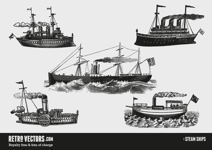 Steam Ships | Free Retro Vectors