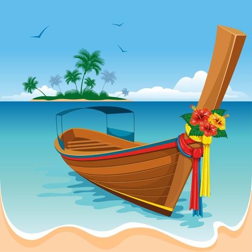 Summer beach scenery vector 02