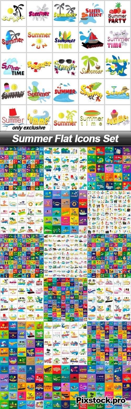 Summer Flat Icons Set – 18 EPS