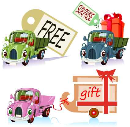 Tag car cartoon vector set 05