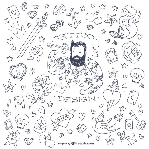 Tattoo man doodle symbols   Vector | Free Download