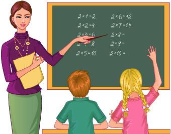Teacher with Student vector 02
