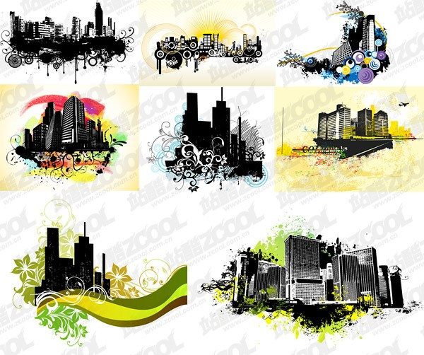 8 the trend of urban architectural theme illustrator vector
