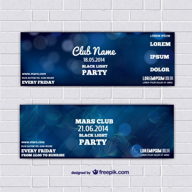 Ticket template banners with blue abstract background  Vector | Free Download