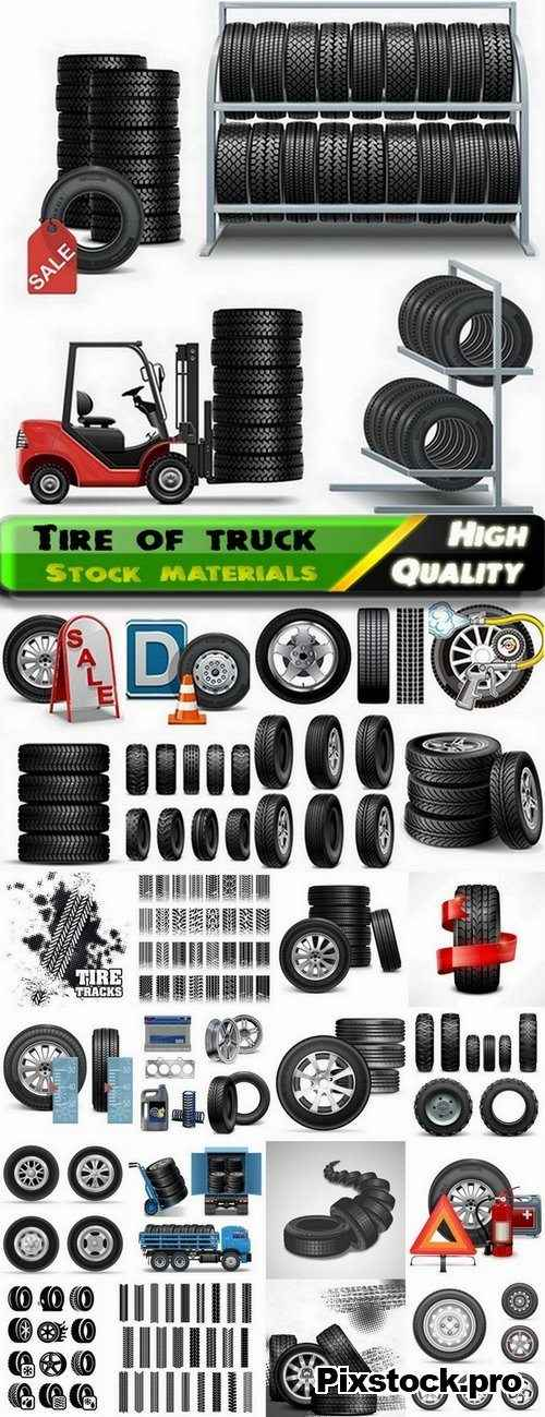 Tire of truck and traces of the tread wheels – 25 Eps