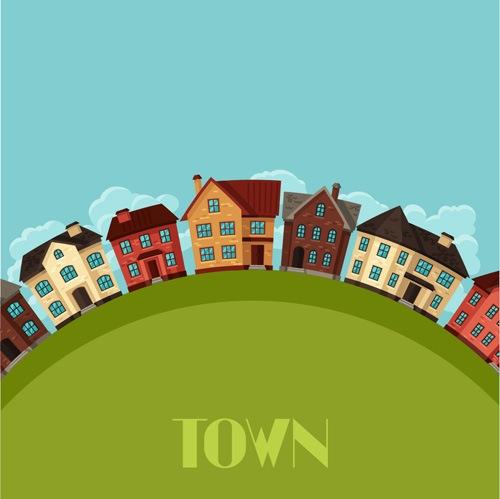 Town house vector design 03
