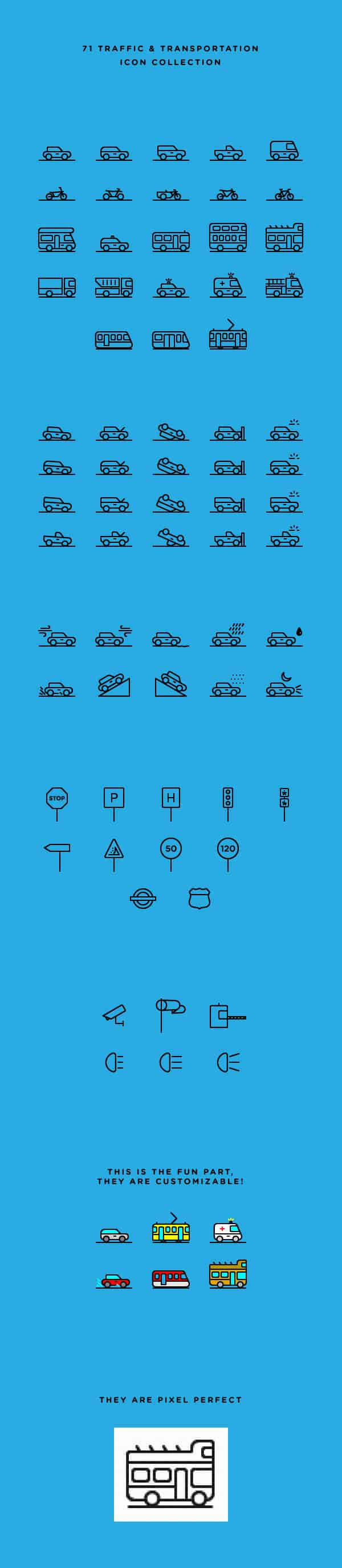 71 Traffic & Transportation Icons | GraphicBurger