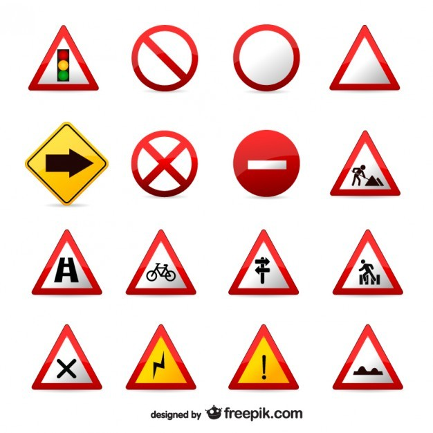 Traffic signs vector set  Vector | Free Download