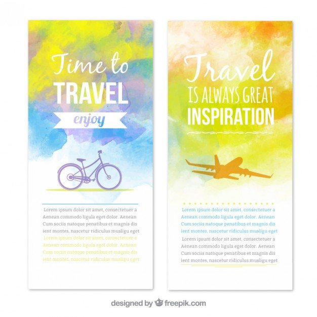 Travel banners in watercolor style  Vector | Free Download