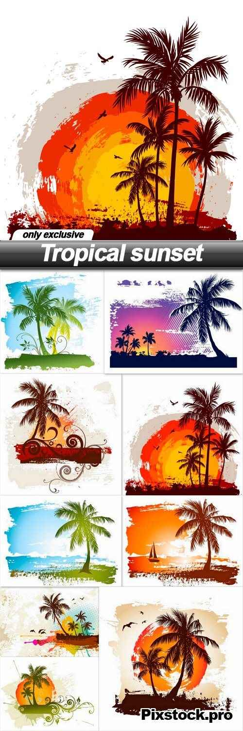 Tropical sunset – 9 EPS
