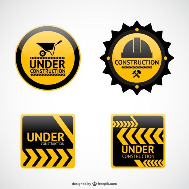 Under construction vector stickers  Vector | Free Download