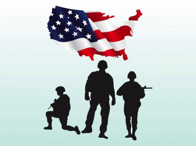 Usa flag soldiers gun vectors