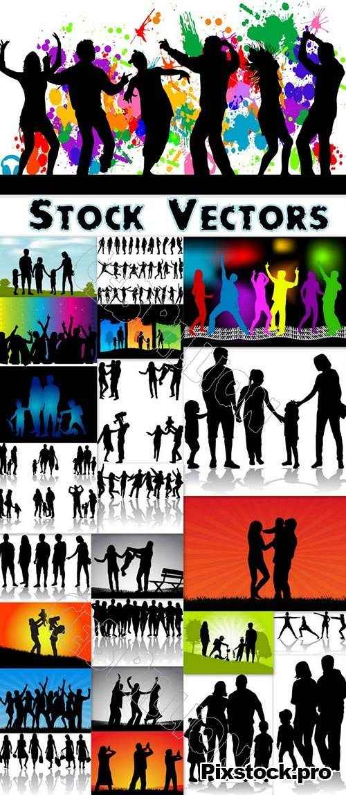 Variety silhouettes of Family and Friends