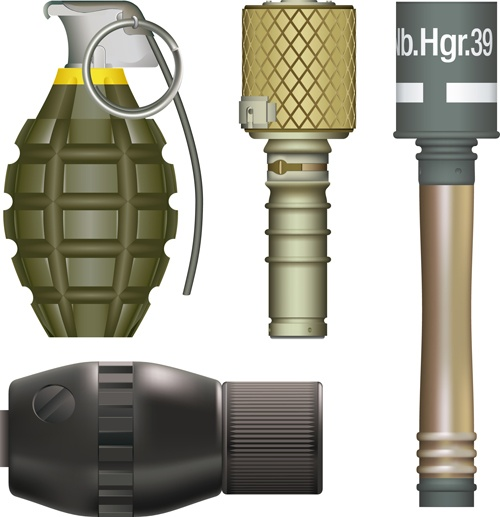 Various Military equipment design elements vector set 04
