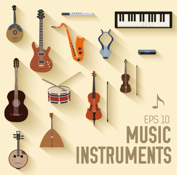 Various music instruments vectors material