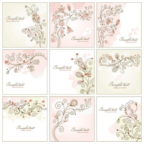 Vector Art: Shabby Chic Floral Vector Art Set 9 Designs