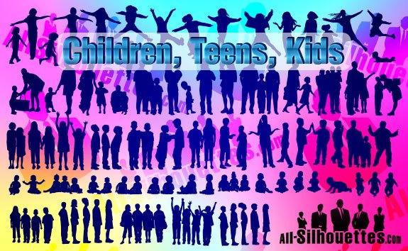 Vector Children, Kids, Teens, – All-Silhouettes