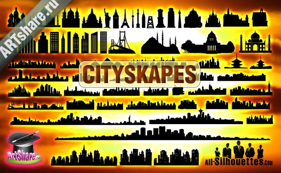 Vector City Scape – All-Silhouettes