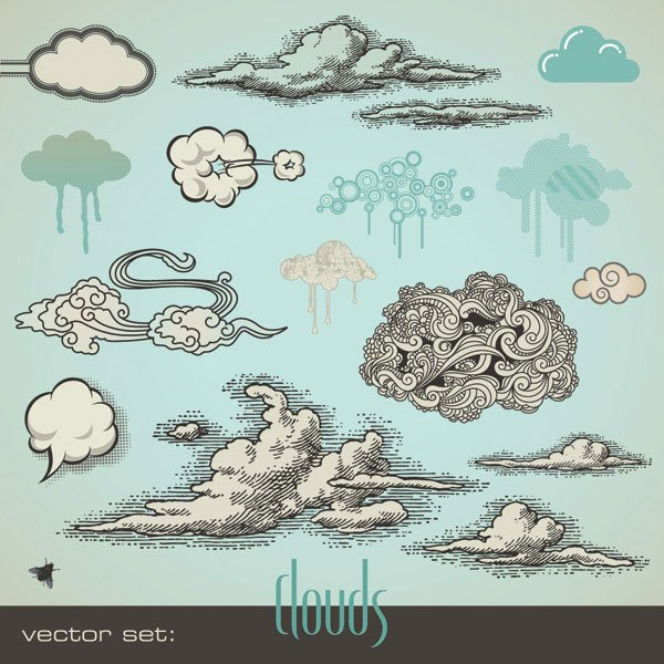 Vector comic style clouds -1