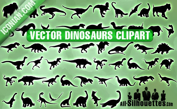 Vector Dinosaurs Clipart – All-Silhouettes