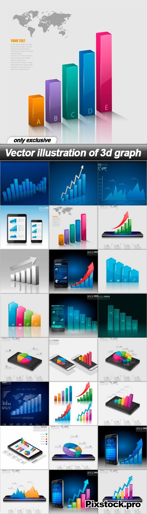 Vector illustration of 3d graph – 24 EPS