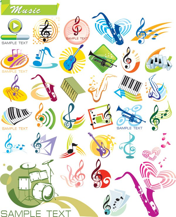 Vector musical theme graphic material