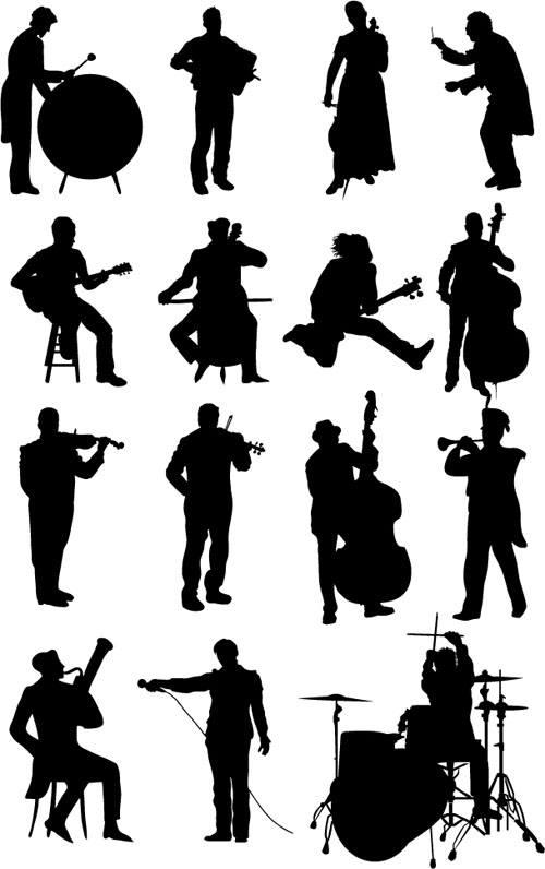 Vector musicians silhouetter set 02