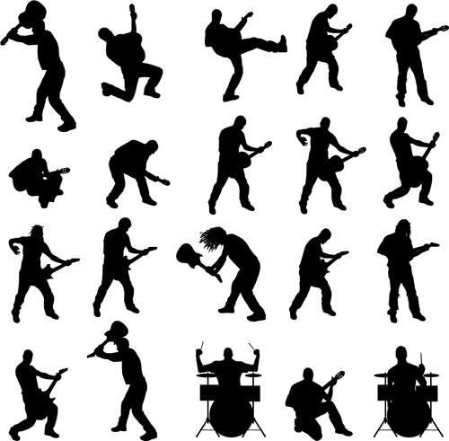 Vector musicians silhouetter set 01