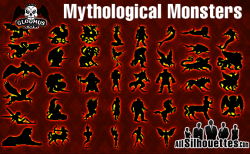 Vector Mythological Monsters – All-Silhouettes