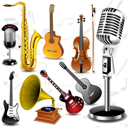 Vector set of musical Instruments graphics 01
