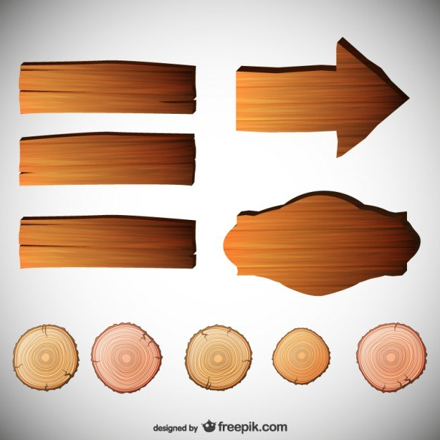 Vector signs with wood texture  Vector | Free Download