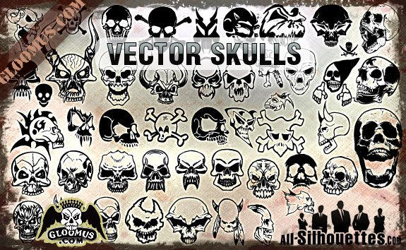 Vector Skulls Clipart