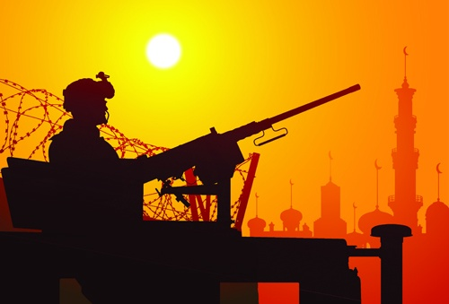 Vector soldiers silhouetter set 01
