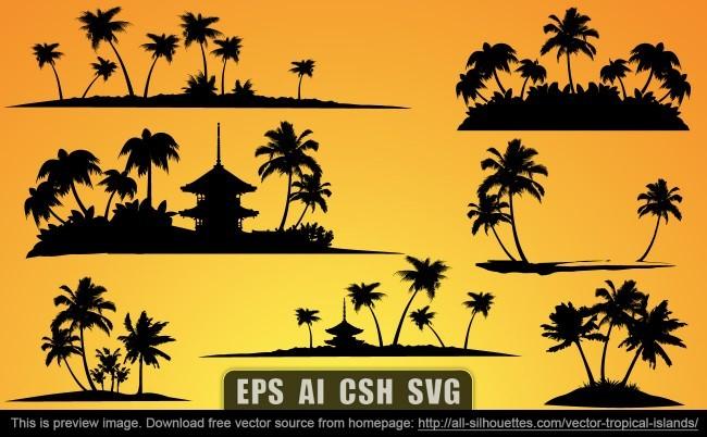Vector tropical islands
