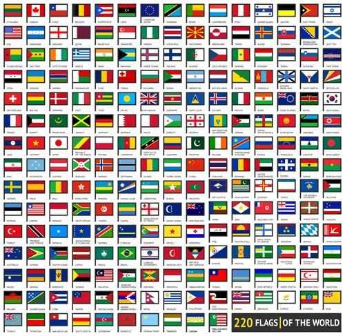 Vector world flags design elements set 01