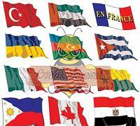 Vektörel Dalgalanan Ülke Bayrakları