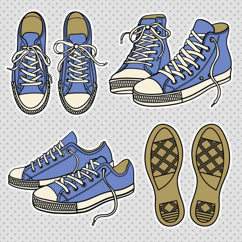 Vintage canvas shoes vector material