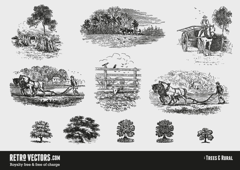 Vintage Country and Tree vectors
