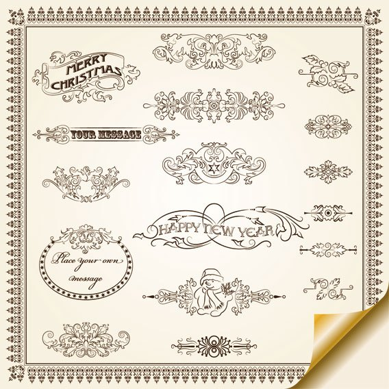 Vintage Decorative pattern Borders elements vector 02