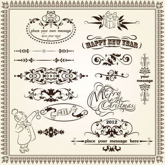 Vintage Decorative pattern Borders elements vector 03