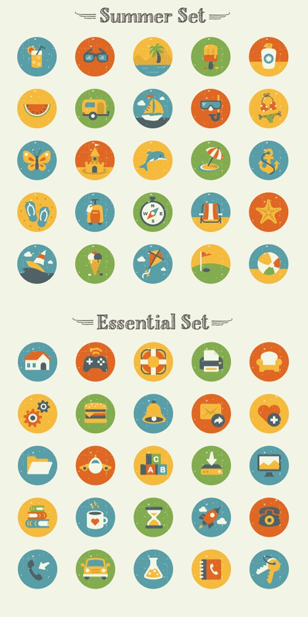 50 Vintage Flat Icon Set | GraphicBurger