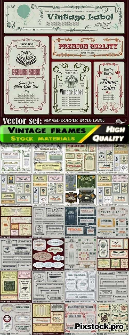 Vintage frames and boards in vector from stock – 25 Eps
