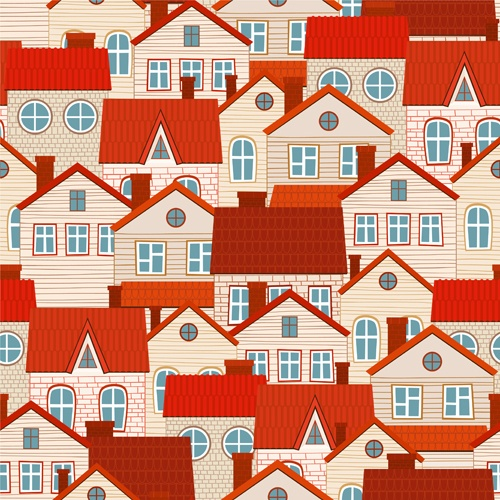 Vintage house seamless pattern vector 02