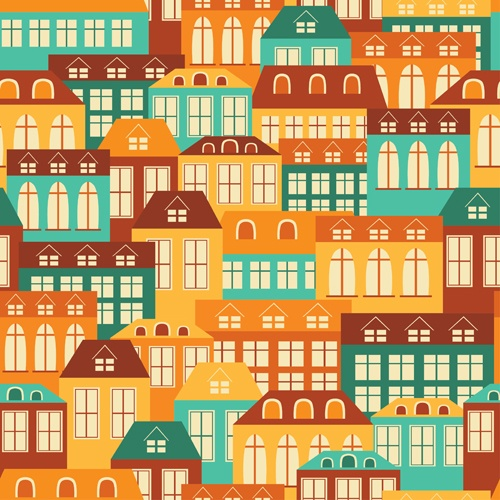 Vintage house seamless pattern vector 01